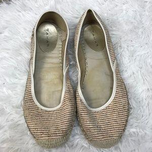 Tahari Espadrille Flats Striped Cork Poliana Shoes